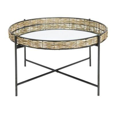 Sorrento Seagrass Tray Top Iron Round Coffee Table, 70cm