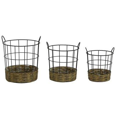 Sorrento 3 Piece Iron & Seagrass Basket Set