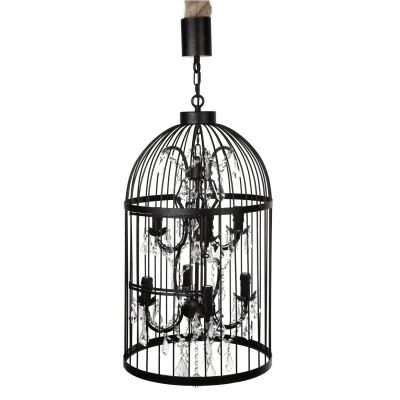 Macaw Handcrafted Metal Cage Chandelier, 8 Arm