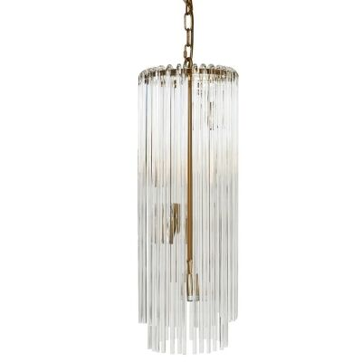 Zara Glass Tube Droplet Pendant Light, Long, Brass