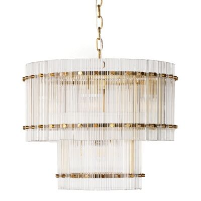 Paloma Glass Pendant Light, 2 Tier Round, Brass