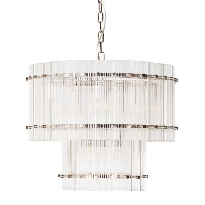 Paloma Glass Pendant Light, 2 Tier Round, Nickel