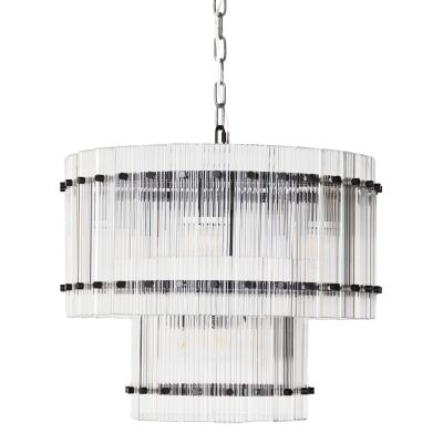 Paloma Glass Pendant Light, 2 Tier Round, Black