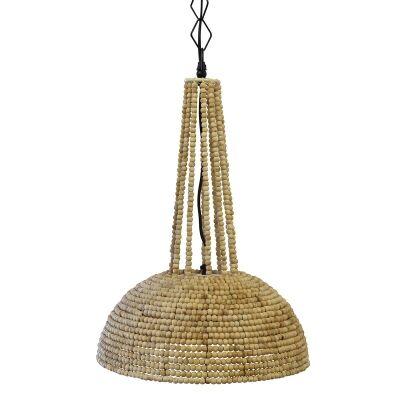 Botswana Wooden Beads Pendant Light, Small, Natural