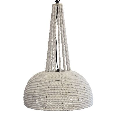 Botswana Wooden Beads Pendant Light, Large, White
