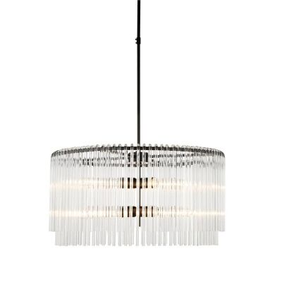 Zara Glass Tube Droplet Pendant Light, 2 Tier Round, Black