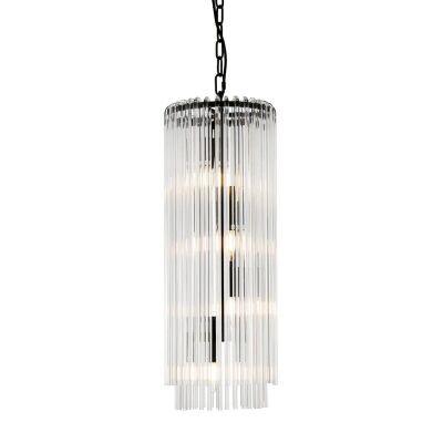 Zara Glass Tube Droplet Pendant Light, Long, Black