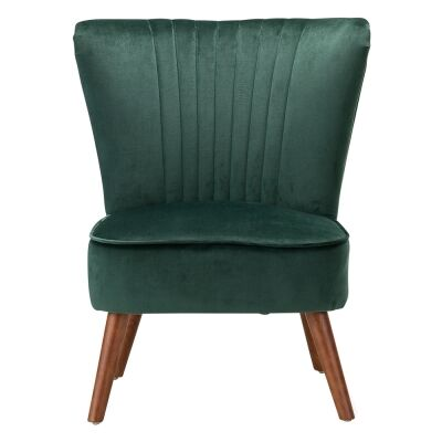 Jessi Velvet Fabric Slipper Accent Chair, Emerald