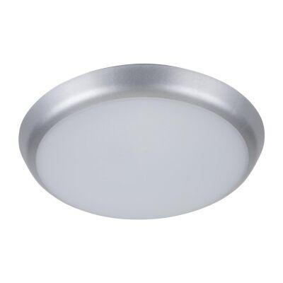 Solar IP54 Indoor / Outdoor Slimline LED Oyster Light, 3000K, Round, 20cm, Silver
