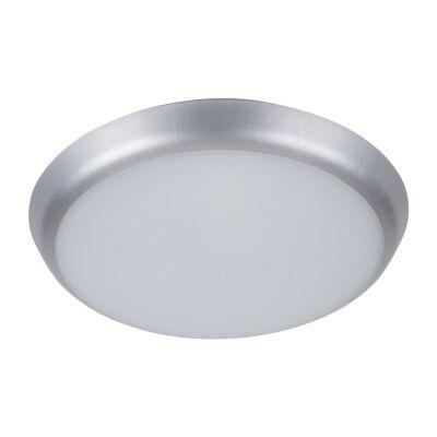 Solar IP54 Indoor / Outdoor Slimline LED Oyster Light, 5000K, Round, 20cm, Silver