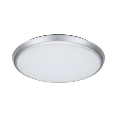 Solar IP54 Indoor / Outdoor Slimline LED Oyster Light, 3000K, Round, 40cm, Silver
