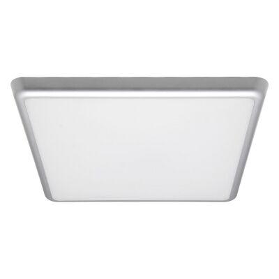 Solar IP54 Indoor / Outdoor Slimline LED Oyster Light, 3000K, Square, 30cm, Silver