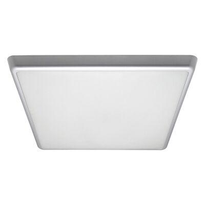 Solar IP54 Indoor / Outdoor Slimline LED Oyster Light, 3000K, Square, 40cm, Silver