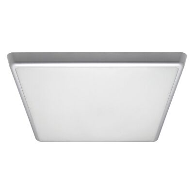 Solar IP54 Indoor / Outdoor Slimline LED Oyster Light, 5000K, Square, 40cm, Silver