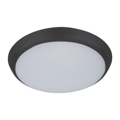 Solar IP54 Indoor / Outdoor Slimline LED Oyster Light, Tricolour, Round, 20cm, Black