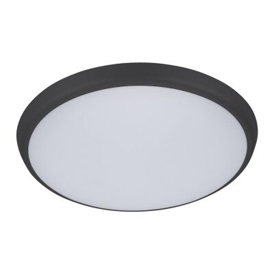 Solar IP54 Indoor / Outdoor Slimline LED Oyster Light, Tricolour, Round, 30cm, Black
