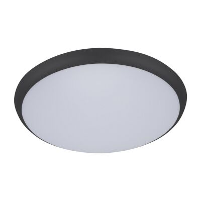 Solar IP54 Indoor / Outdoor Slimline LED Oyster Light, Tricolour, Round, 40cm, Black
