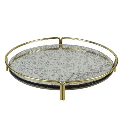Belmont Metal & Antique Glass Oversized Tray, Round