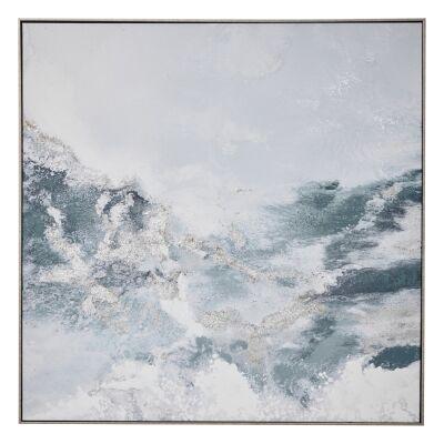 """Foamy Sea"" Framed Textured Canvas Wall Art Print, 100cm"