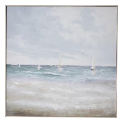 """Sunday Sails"" Framed Textured Canvas Wall Art Print, 100cm"