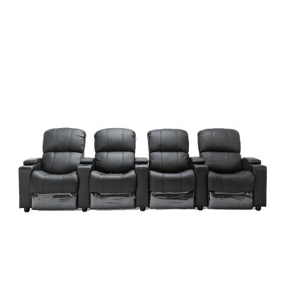 Real Leather 4 Seater Push Back Recliner Lounge Suite