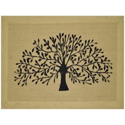 Tree of Life Jute Bordered Doormat, 90x60cm, Hay