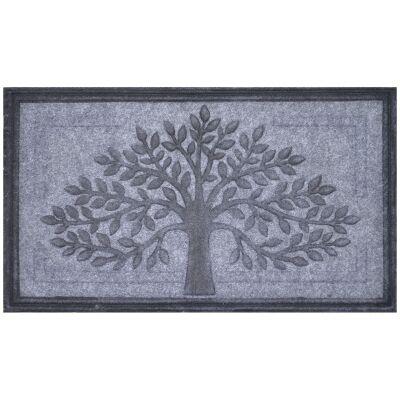 Tree of Life Felt Doormat, 75x45cm, Grey