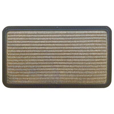 Senart Stripe Rubber Edged Doormat, 70x40cm, Brown
