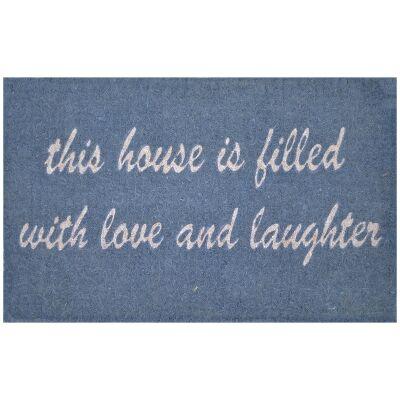 Love & Laughter Premium Handwoven Coir Doormat, 80x50cm