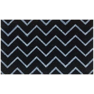 Zig Zag Coir Doormat, 75x45cm, Black