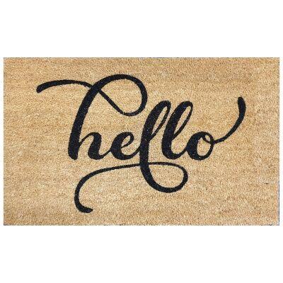 Script Hello Coir Doormat, 75x45cm