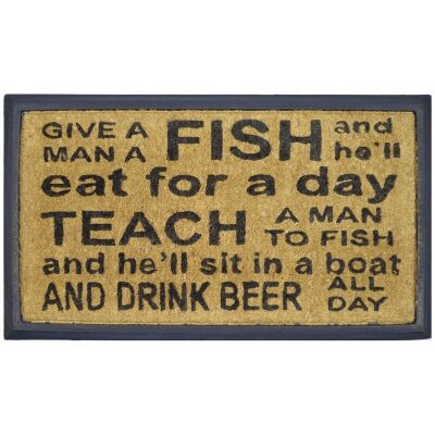 Give Fish & Teach To Fish Coir & Rubber Doormat, 70x40cm