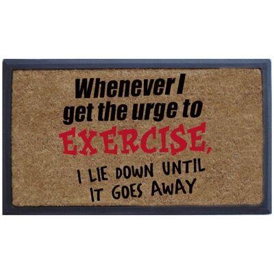 Urge To Exersise Coir & Rubber Doormat, 70x40cm