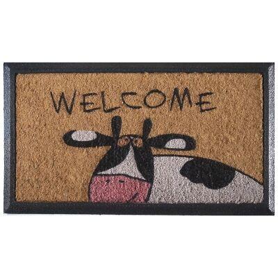 Welcoming Cow Rubber Edged Coir Doormat, 70x40cm