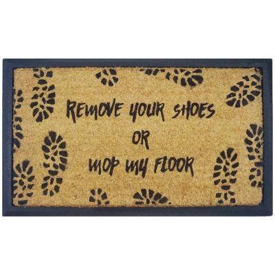 Remove Shoes Or Mop Floor Coir & Rubber Doormat, 70x40cm