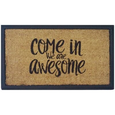 We Are Awesome Coir & Rubber Doormat, 70x40cm