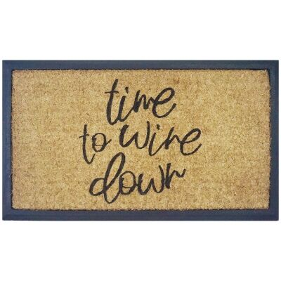 Time To Wine Down Coir & Rubber Doormat, 70x40cm