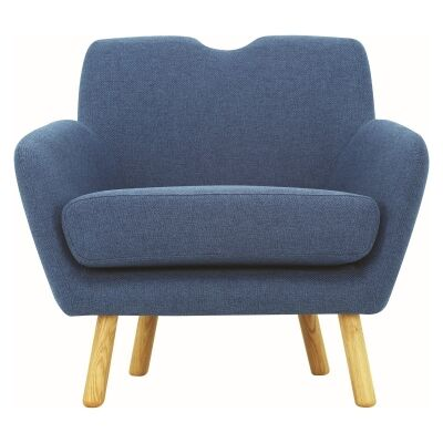 Wagon Belgian Made Fabric Armchair, Midnight Blue