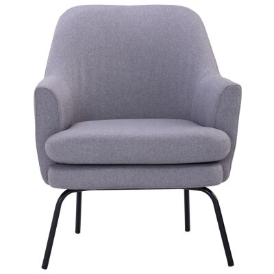 Lucian Veloutine Fabric Lounge Armchair, Petwer Grey