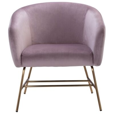 Galen Veloutine Fabric Lounge Armcair, Rosa