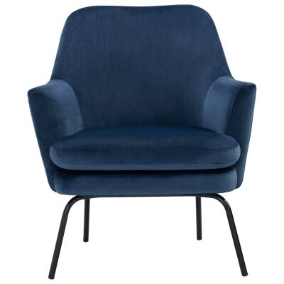 Lucian Veloutine Fabric Lounge Armchair, Blue