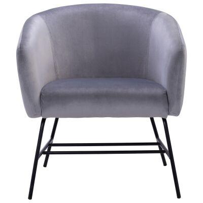 Galen Veloutine Fabric Lounge Armcair, Ash Grey