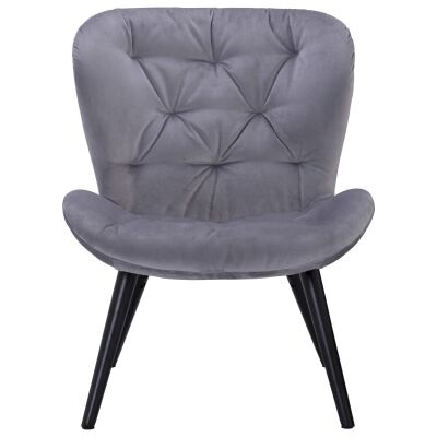Salomi Veloutine Fabric Lounge Chair, Ash Grey