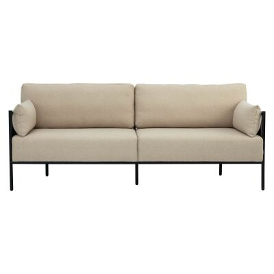 Tredia Commercial Grade Fabric & Metal Sofa, 3 Seater, Beige / Grey
