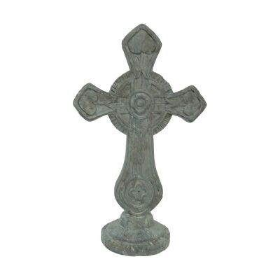 Wooden Catholic Cross Sculpture on Base