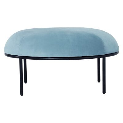 Vamos Commercial Grade Veloutine Fabric Oval Footstool, Blue