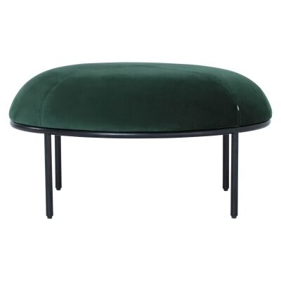 Vamos Commercial Grade Veloutine Fabric Oval Footstool, Emerald