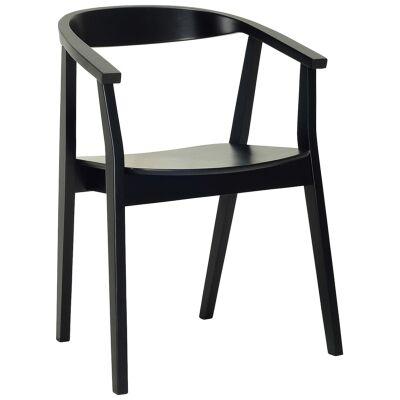 Greta Oak Timber Dining Chair, Black