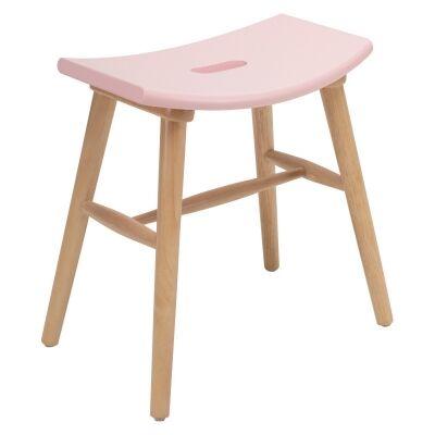 Hollis Oak Timber Table Stool, Pink / Natural