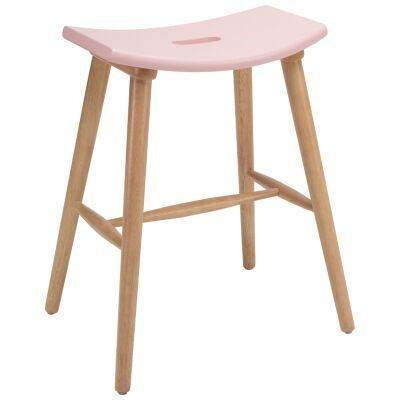 Hollis Oak Timber Counter Stool, Pink / Natural